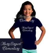 Girls Fitted Metallic Print Vneck Tshirt